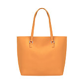 Orange elegant leather tote shoulder bag isolated white