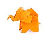 Orange elephant of origami. Isolated on white background
