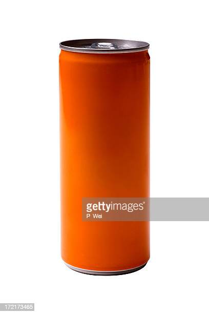 Orange energy drink can on white background