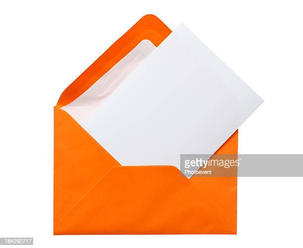 Orange envelope with a white piece of paper inside