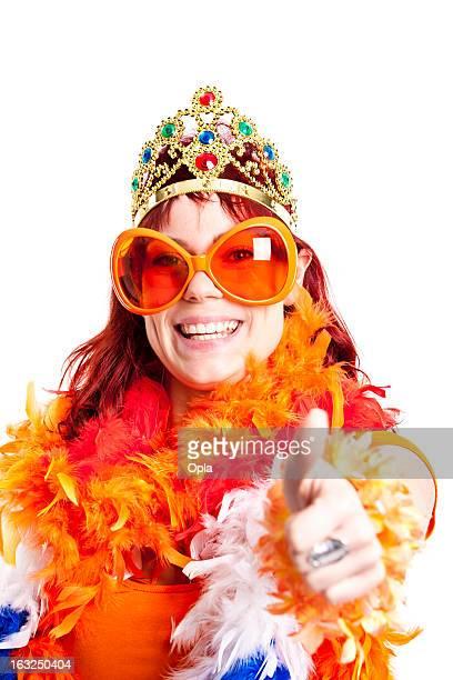 Orange fan thumbs up.