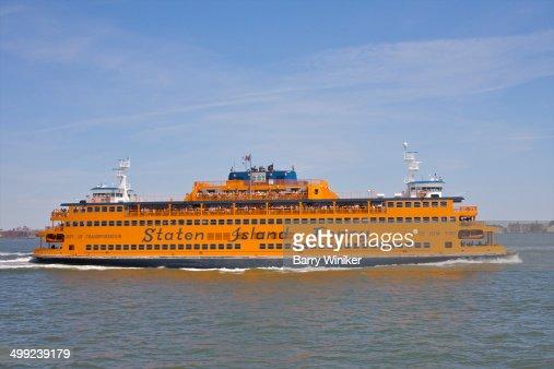 Orange ferry boat profile
