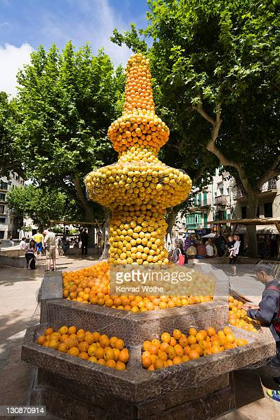 Orange fountain in S??ller, Mallorca, Majorca, Balearic Islands, Spain, Europe