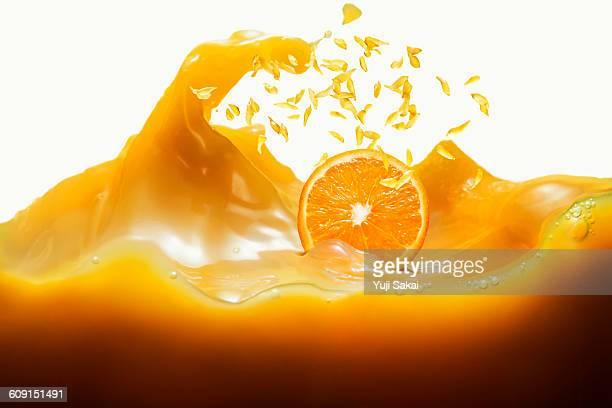 Orange fresh in the air &  Orange juice wave side