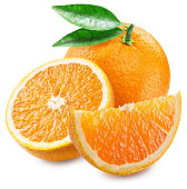Orange fruit and slices. File contains clipping paths.