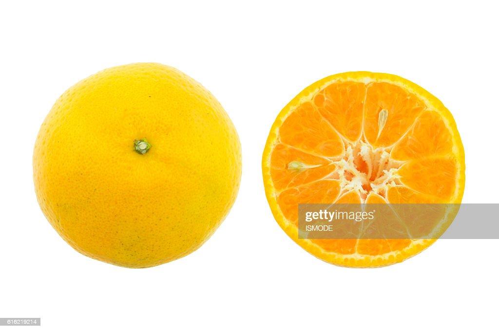 Orange Früchte isoliert auf weißem Hintergrund. : Stock-Foto
