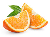 Orange fruit. Slices with leaves isolated on white.