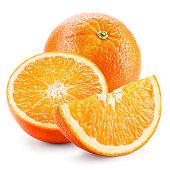 Orange fruit. Whole, half and a piece isolated on white.