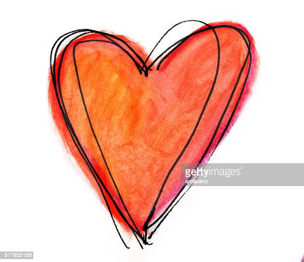 Orange hand painted heart with white copyspace