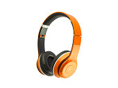 Orange, headphones, isolated