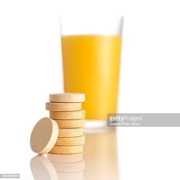 Orange juice and vitamin c tablets