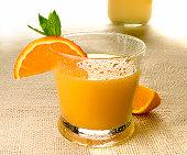 Orange juice on burlap