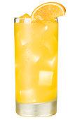 Orange Juice Screwdriver Cocktail Isolated on White Background