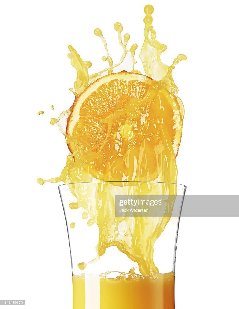 Orange Juice with Orange and Glass : Stock Photo