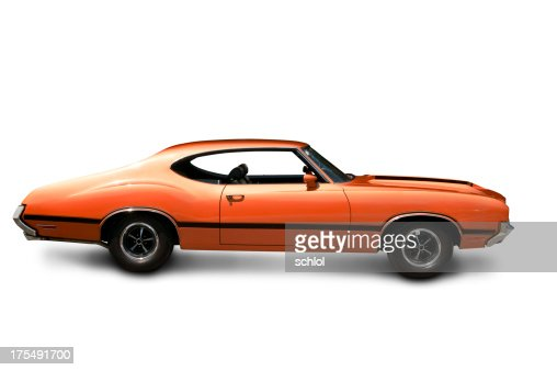 Orange Muscle Car Side View Stock Photo Getty Images