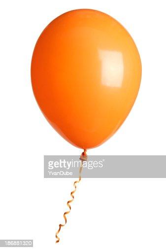 orange party balloon isolated on white