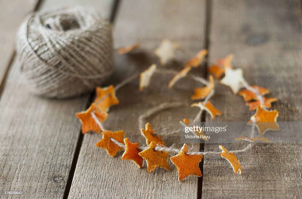 Orange Peel Garland : Stock Photo