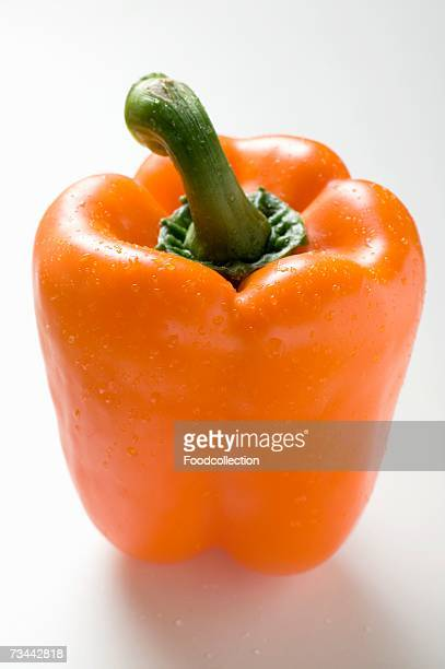 Orange pepper with drops of water