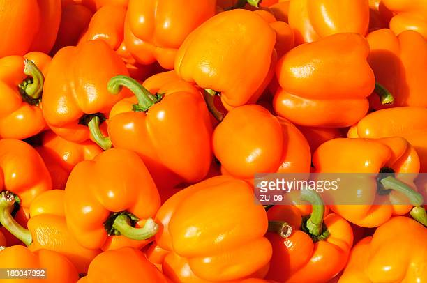 Orange peppers at a street market
