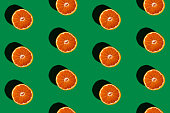 composition of orange on a green background,