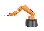Orange robotic arm isolated on white background. 3D rendering image with clipping path.