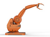 3d rendering orange robotic arm on white background