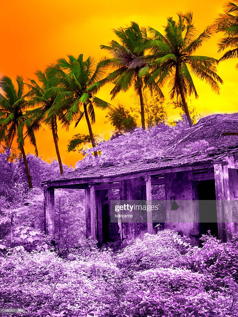 Orange Sky Over Purple Building in Hoian Vietnam - Infrared : Stock Photo