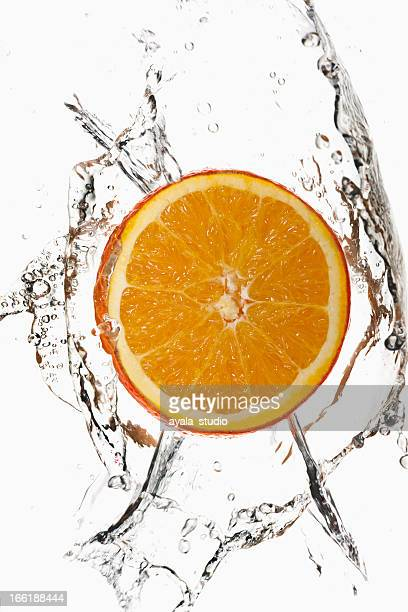 Orange Slice Splashing Into Water