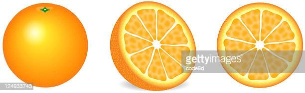 Orange, sliced open, side, front view, XXXL, isolated on white