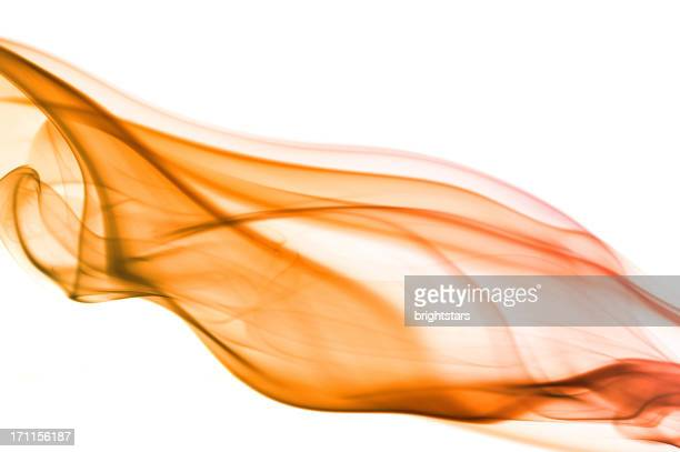 Orange smoke on white background