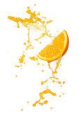 orange juice splashing with orange slice isolated on white