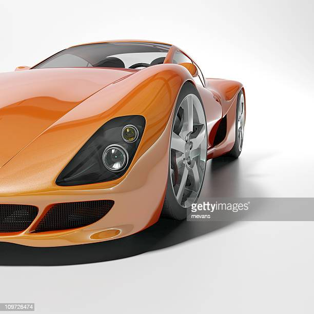 Orange sports car on white background