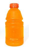 Plastic orange sports drink bottle isolated on white. Vertical.
