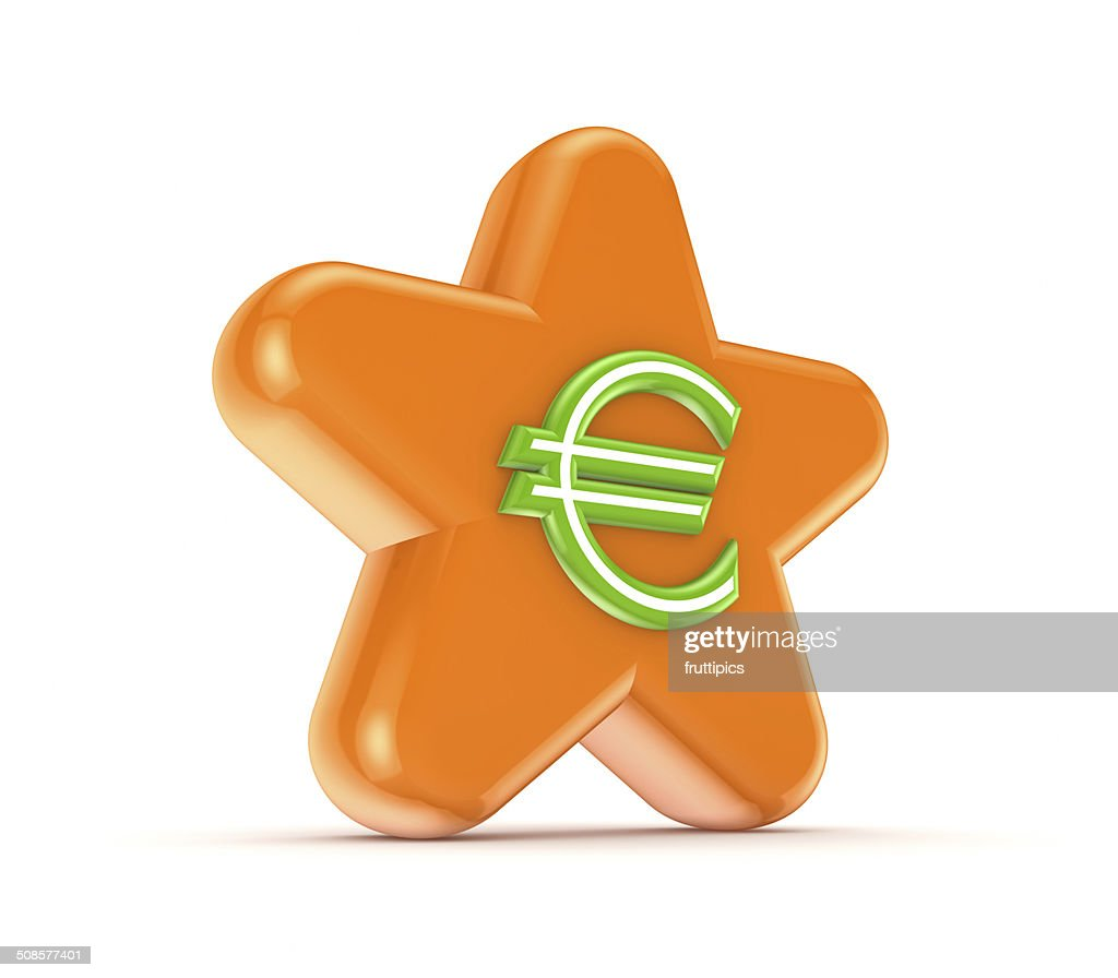 Orange star with a green euro sign. : Stockfoto