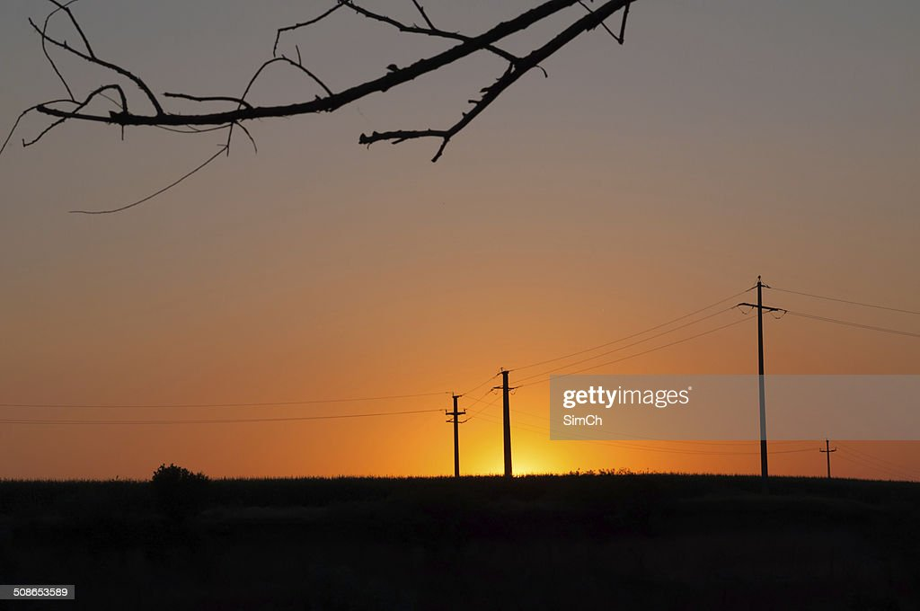 orange sunset and electric pylons : Stock Photo