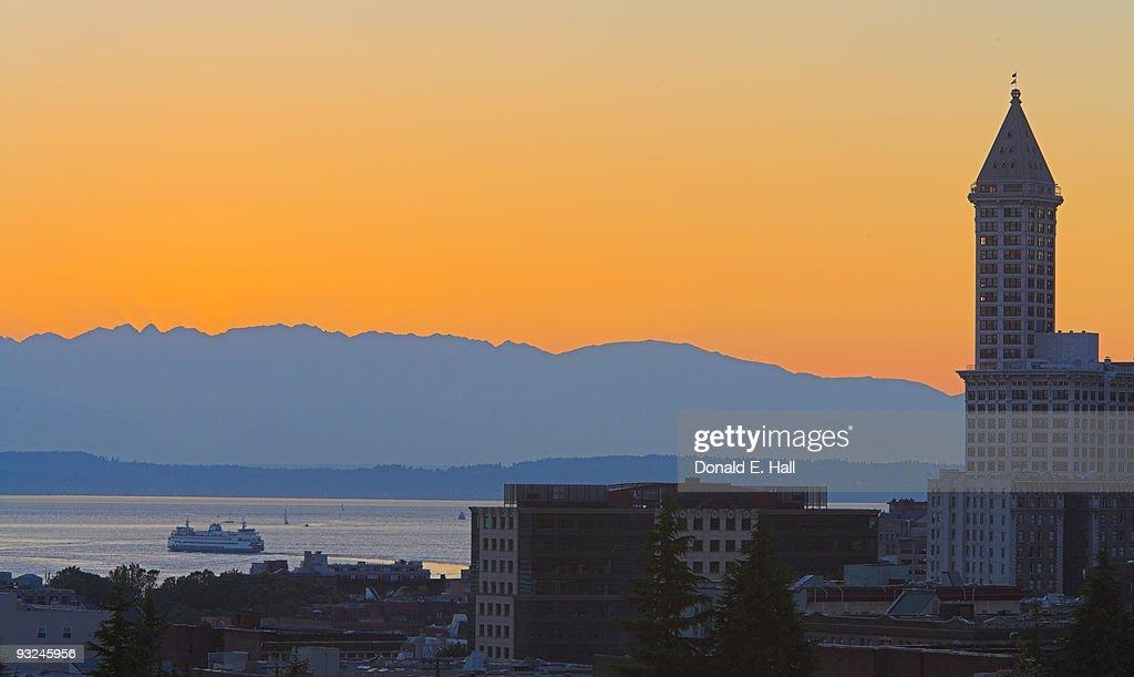 Orange Sunset over Elliott Bay