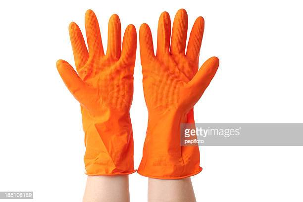 orange vinyl glove