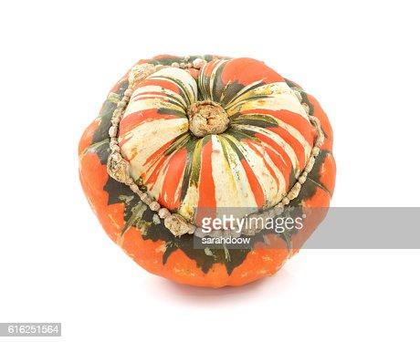 Orange, white and green Turks Turban squash : Foto de stock