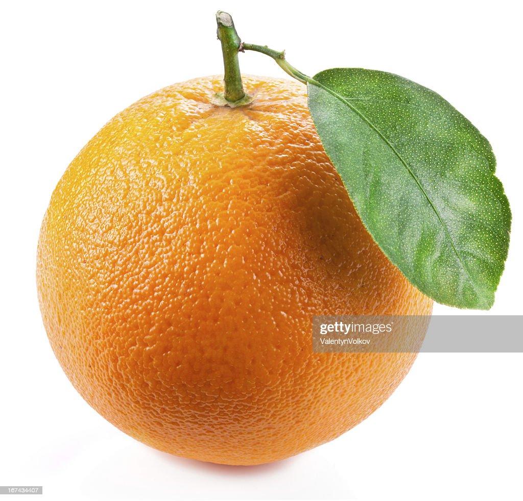 Orange with leaf. : Stock Photo
