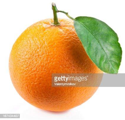 Naranja con hoja. : Foto de stock