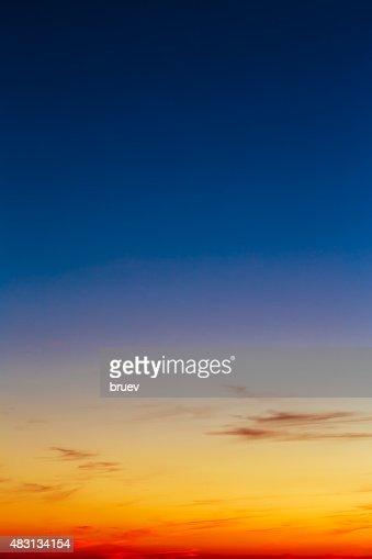 Orange, Yellow Blue Sunrise Sky With Sunlight Sunset Background : Stock Photo
