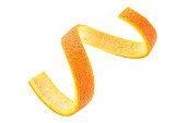 Orange zest spiral over white background. Healthy food.