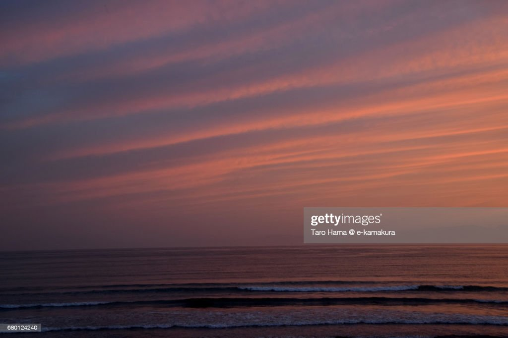 Orange-colored clouds on Sagami Bay in the sunset : ストックフォト