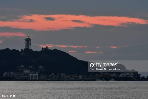 Orange-colored sunset clouds on Enoshima Island