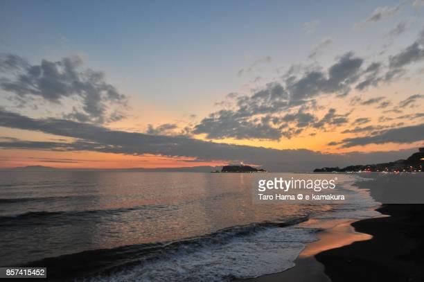 Orange-colored sunset clouds on Sagami Bay and Enoshima Island
