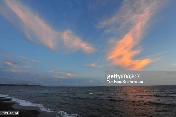 Orange-colored sunset clouds on Sagami Bay in Japan