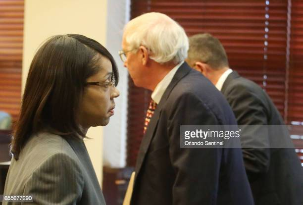 Orange/Osceola State Attorney Aramis Ayala left leaves the courtroom after asking for Markeith Loyd's case to pause Monday March 20 2017 while she...