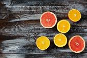 fresh ripe oranges and grapefruits