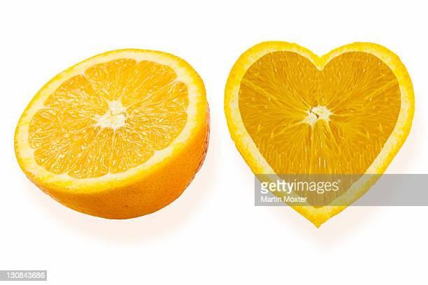 Oranges, heart-shaped