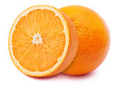 Perfectly retouched orange with half slice isolated on white background with clipping path